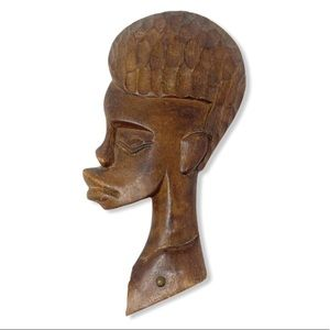 African Mask Wall Art Decor Wood Carved Handmade